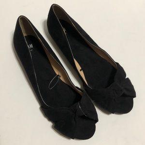 H&M Black Bow Peep Toe Open Toe Flats